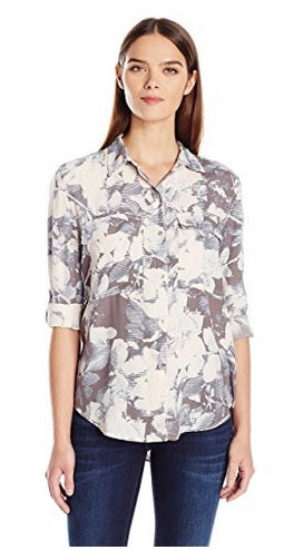 Calvin Klein Jeans Women's Muted Print Utility Top, Large