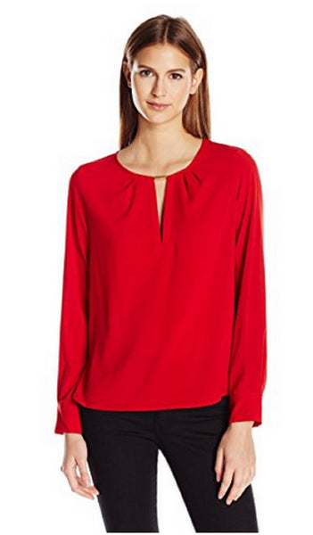 CALVIN KLEIN WOMEN'S HARDWARE-TRIM BLOUSE RED, SMALL