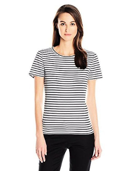 CALVIN KLEIN WOMEN'S STRIPED TOP WHITE & BLACK, XL