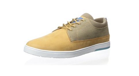CLAE Tan Leather and Textile Sneakers