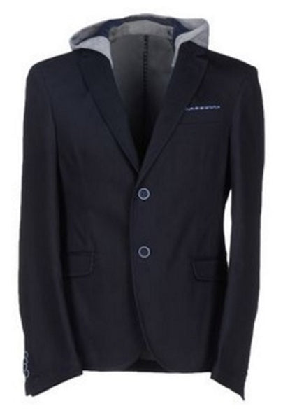 DOOA Men's Navy Cotton Blend Blazer