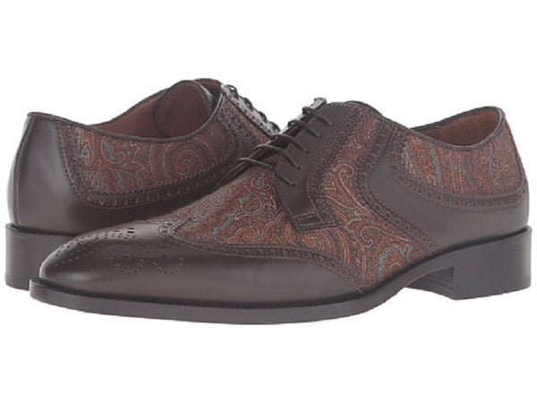 ETRO Men's Brown Leather and Paisley Wingtip Oxfords