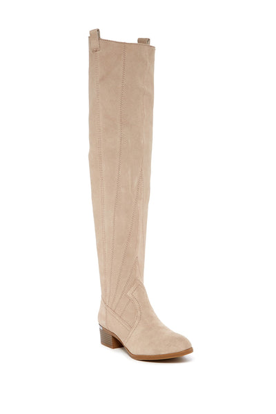 Fergie Women's Beige Over The Knee Suede Boots