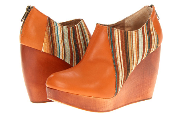 FIEL Tan Leather/Textile Wedge Bootie