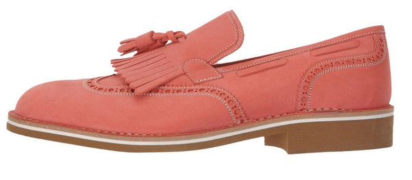 a.Testoni Coral Leather Men's Loafers