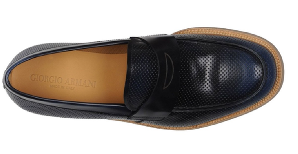 Giorgio Armani Men's Navy Perforated Leather Loafers