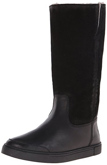 FRYE Women's Black Leather/Suede Tall Shearling Lined Pull On Boots