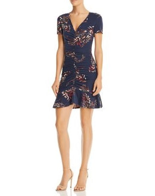 AQUA Ruched Botanical Print Dress
