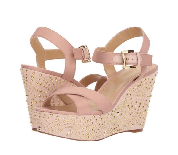 Michael Michael Kors Women's Pink Leather Studded Wedge Heels