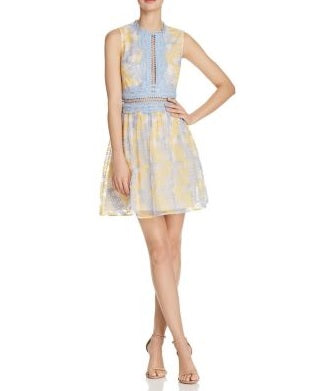 AQUA Branch Embroidered Fit-And-Flare Dress