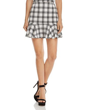 AQUA Flounce-Hem Plaid Skirt