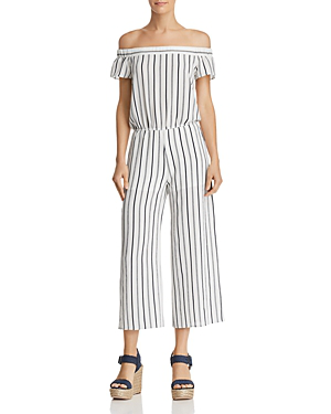 AQUA  Striped Off-The-Shoulder Wide-Leg Jumpsuit - White/Navy