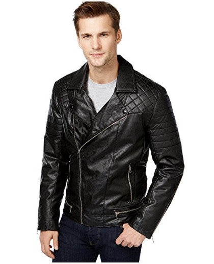 INC Men's Black Motorcycle Faux-Leather Jacket