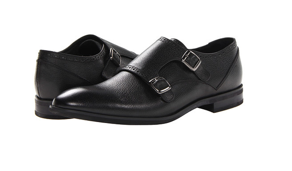JD Fisk Black Leather Monk Strap Shoes