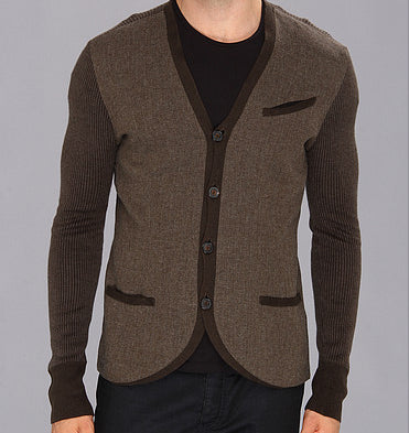 John Varvatos Collection Olive Woven Silk and Cashmere Cardigan