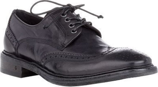 John Varvatos Men's Black Leather Wingtip Oxfords