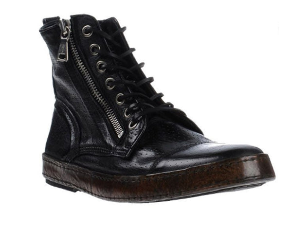 John Varvatos Men's Black Leather Distressed Hi Top Sneakers