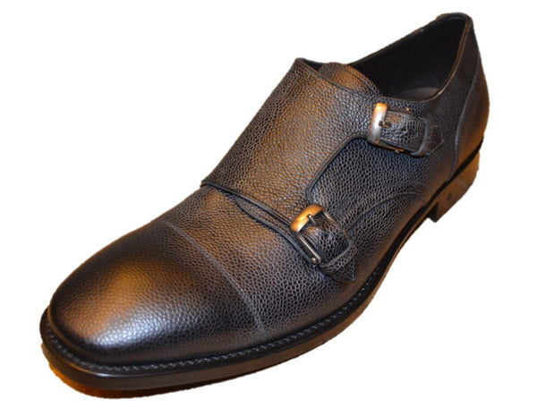 John Varvatos Men's Black Textured Leather Monkstrap Shoes