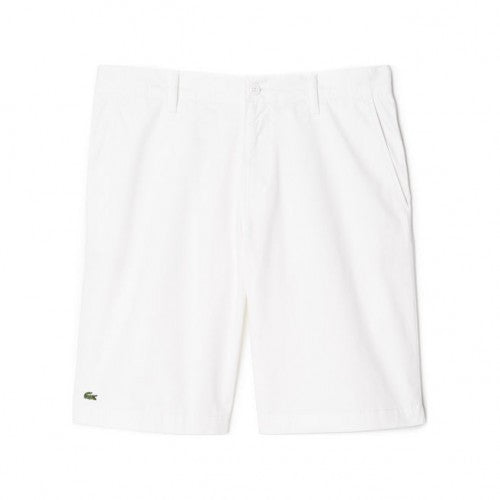 Lacoste Men's White Cotton Flat front Shorts
