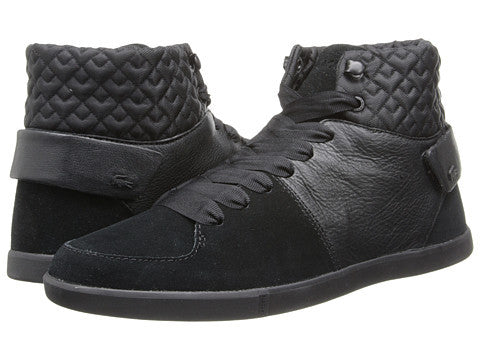 Lacoste Black Leather Quilted Women Hi-top Sneakers
