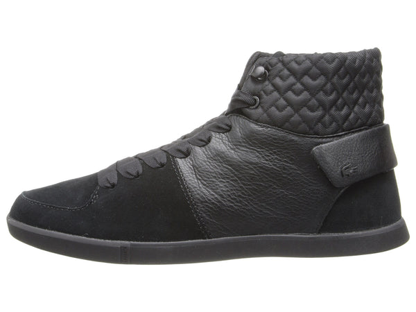 b879f6896b2 Lacoste Black Leather Quilted Women Hi-top Sneakers – Solesational