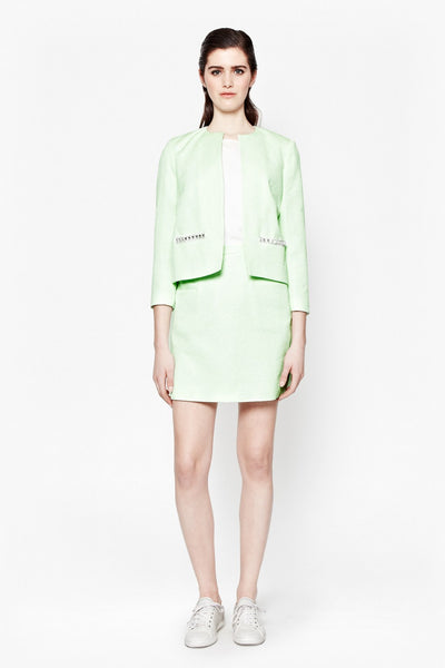 French Connection Women's Collarless Mint Green Jacket