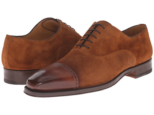 Magnanni Men's Cognac Leather and Textured Suede Oxfords