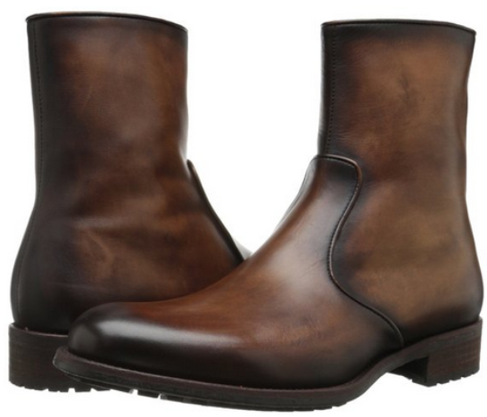 Magnanni Brown Antiqued Leather Men Zip Up Men's Boots