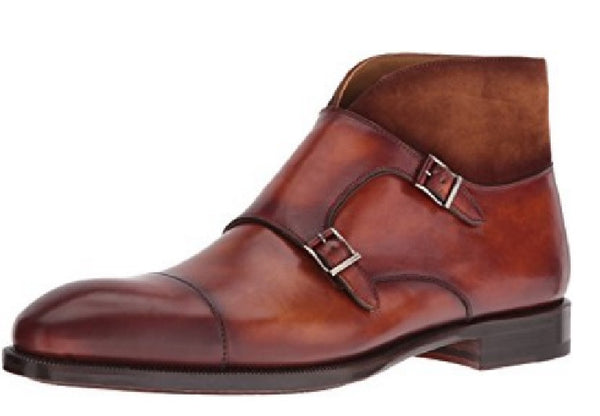 Magnanni Leather and Suede Monk Strap Men's Ankle Boots