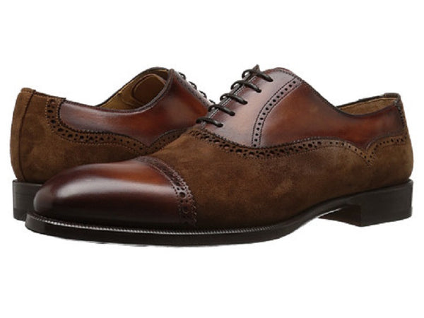 Magnanni Cognac Leather/Suede Cap-toe Men's Oxfords