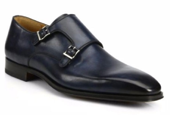 Magnanni (SFA) Men's Navy Leather Double Monkstrap Shoes
