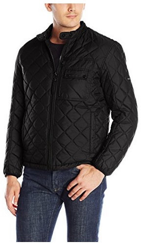 Marc New York by Andrew Marc Men's Black Quilted Faux-fur Lined Jacket