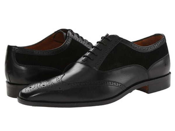 Massimo Matteo Black Leather & Suede Mens Oxfords