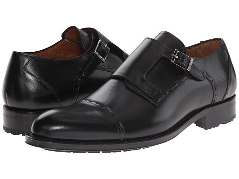 Mezlan Men's Black Leather Monkstrap Shoes