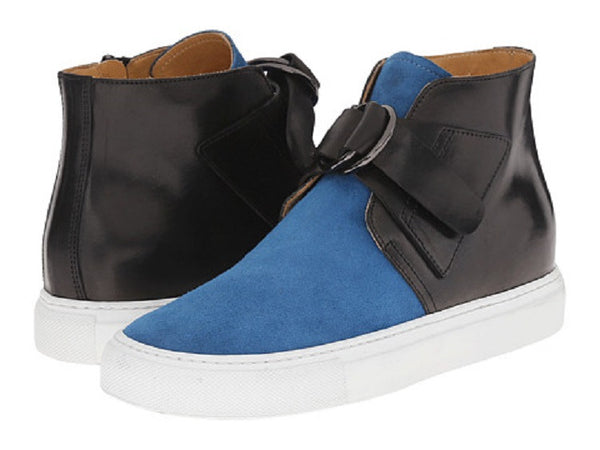 Maison Margiela Women's Black/Blue Leather Hi Top Sneakers
