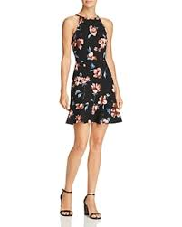 Aqua Floral Print Flounce-Hem Dress - NAVY