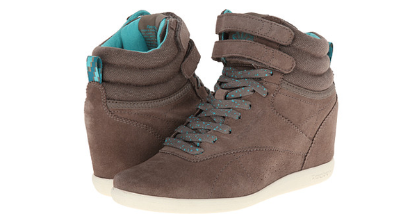 Reebok Freestyle Grey / Teak Hitop Wedge Sneakers