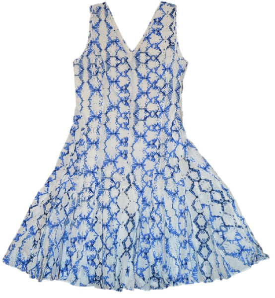 Rebecca Taylor Women's Cotton White/Blue Sleeveless Tie Dye Dress