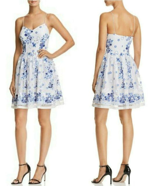 AQUA BOHO FLORAL PRINT MESH FIT AND FLARE DRESS