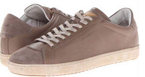 Santoni Taupe Distressed Leather Sneakers