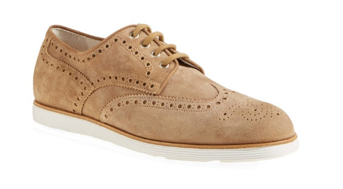 Santoni Tan Suede Mens Wingtip Oxford