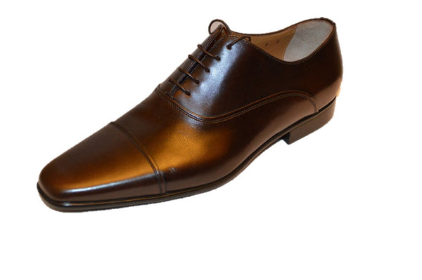 Santoni Men's Brown Leather Oxfords