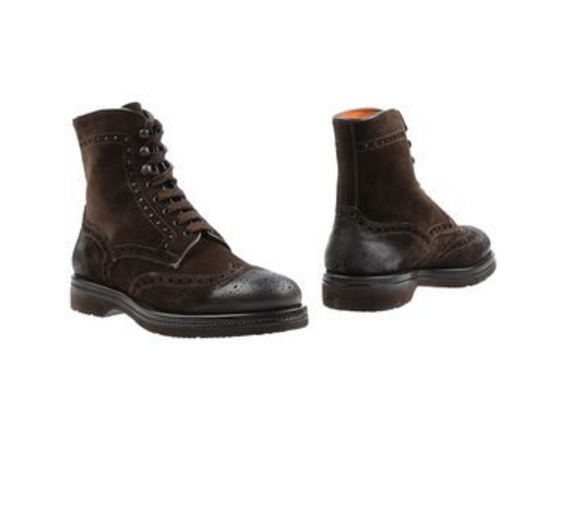 Santoni Brown Leather Burnished Toe Lace up Mens Boots