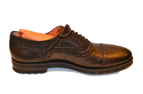 Santoni Men's Brown Smooth and Croc Print Leather Oxfords