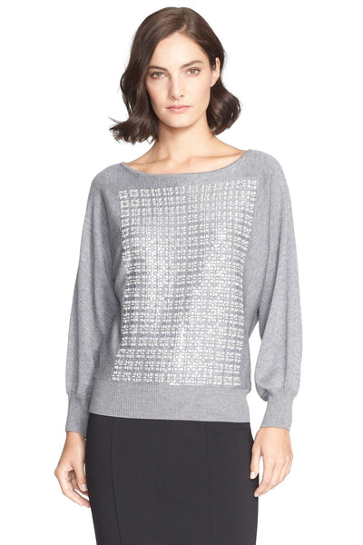 St. John Collection Grey Embroidered Bracelet Sleeve Sweater