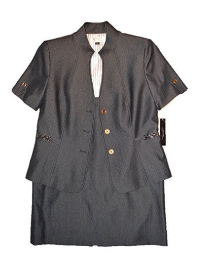 TAHARI Navy Denim Short Sleeve Women's Skirt Suit