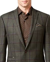 Tallia Men's Green Windowpane Wool Blazer
