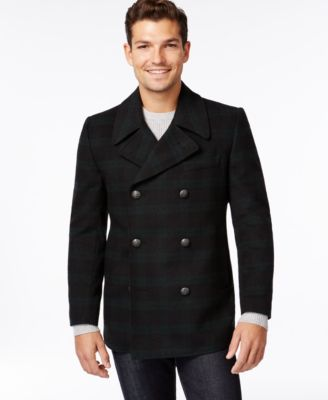 Tallia Men's Black/Green Wool Peacoat