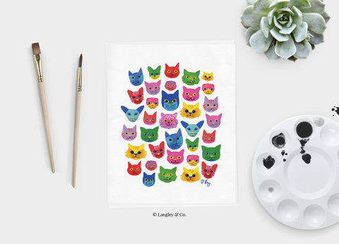 colorful cats 8x10 art print