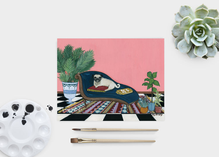 Pug Lounging Art Print
